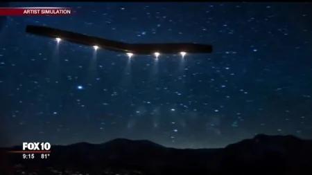 根據目擊者的描述,人們繪製出巨型UFO的飛行路線。(福克斯新聞視頻截圖)