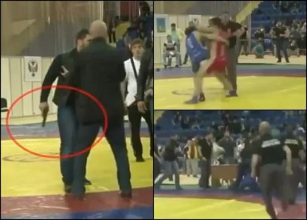 俄富二代摔跤不认输扑向对手 保镖拔枪护驾 图