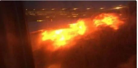 新航一客机起飞后出现故障 紧急落地后起火(图)