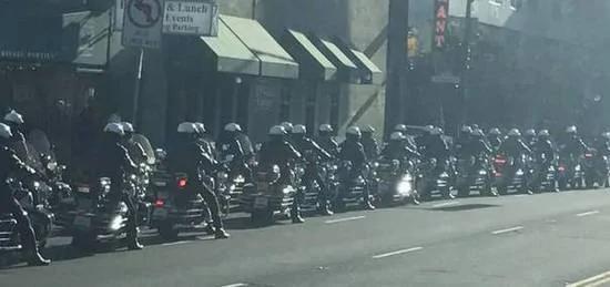 蔡英文過境舊金山 美國60部哈雷警車開道