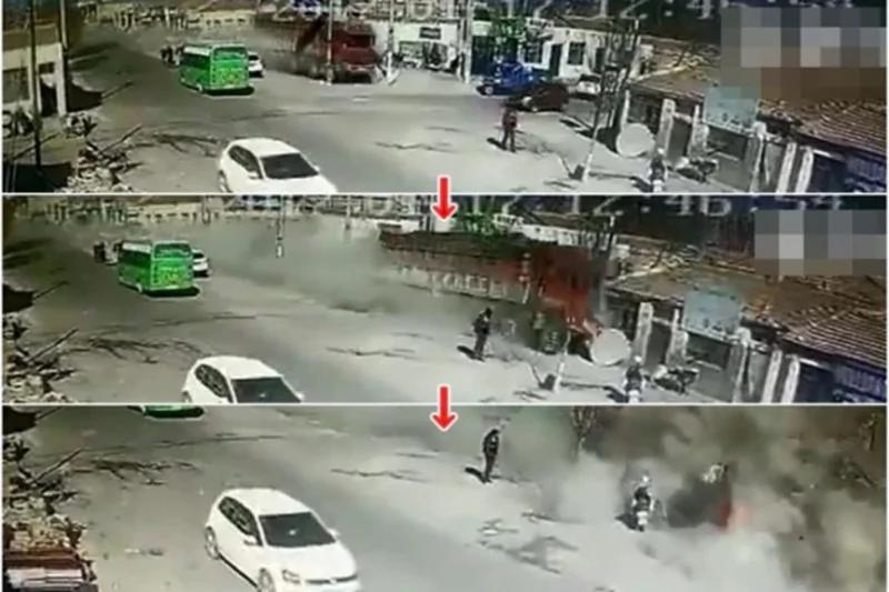恐怖 监控拍下宁夏大货车瞬间撞塌大片民房 5死3伤