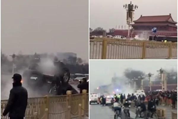 一辆军车周五在北京天安门失事侧翻,官方对事件模糊其词(网络图片)