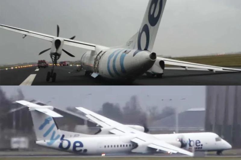 """强风中硬降 英国客机""""断腿""""机腹擦地着陆 乘客万幸无伤"""
