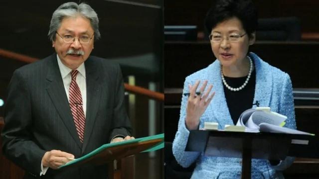 港大最新发表的民调显示,曾俊华(左)支持度抛离林郑月娥整整11个百分点。
