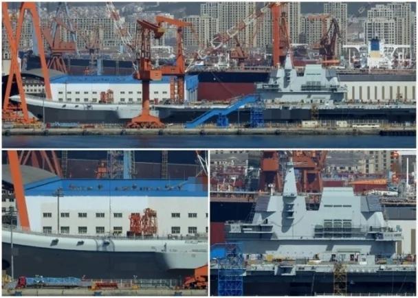 网友拍摄的照片显示,〝001A型〞航母已完成涂漆程序。(网络图片)