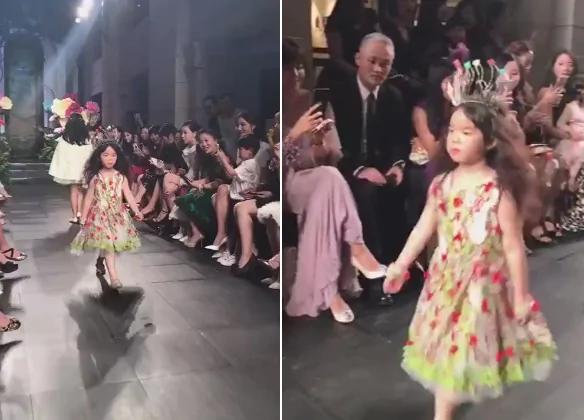 黄奕女儿T台走秀 头顶花冠似小公主