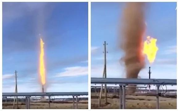 龙卷风遇油田秒变火龙卷 大火直冲云端