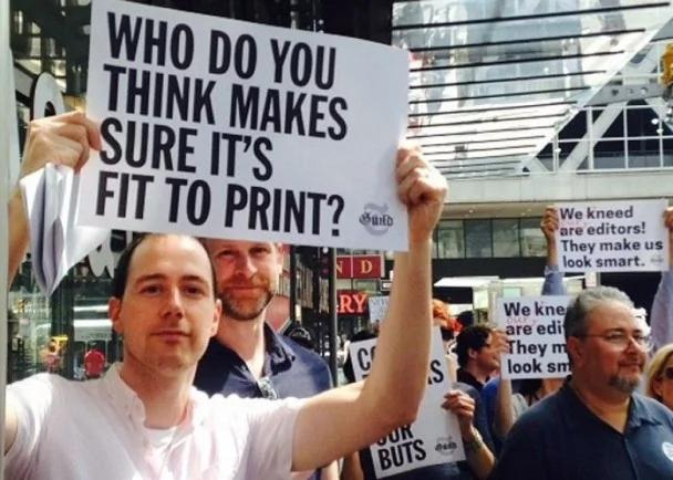 纽约时报欲裁一半审稿编辑 450员工示威