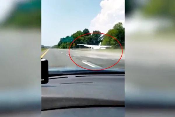 高速公路成停机场? 飞机降落吓呆后方司机