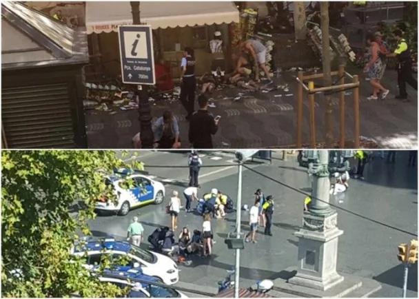 西班牙巴塞罗那恐袭 货车铲行人枪手闯餐厅
